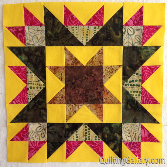 My version of this block for my Delightful Stars quilt.