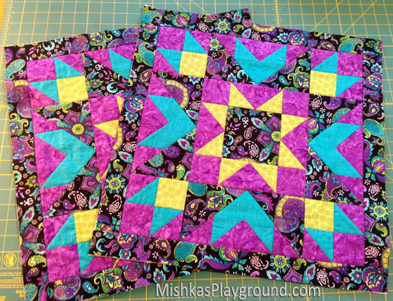 Quilted pillow tops.